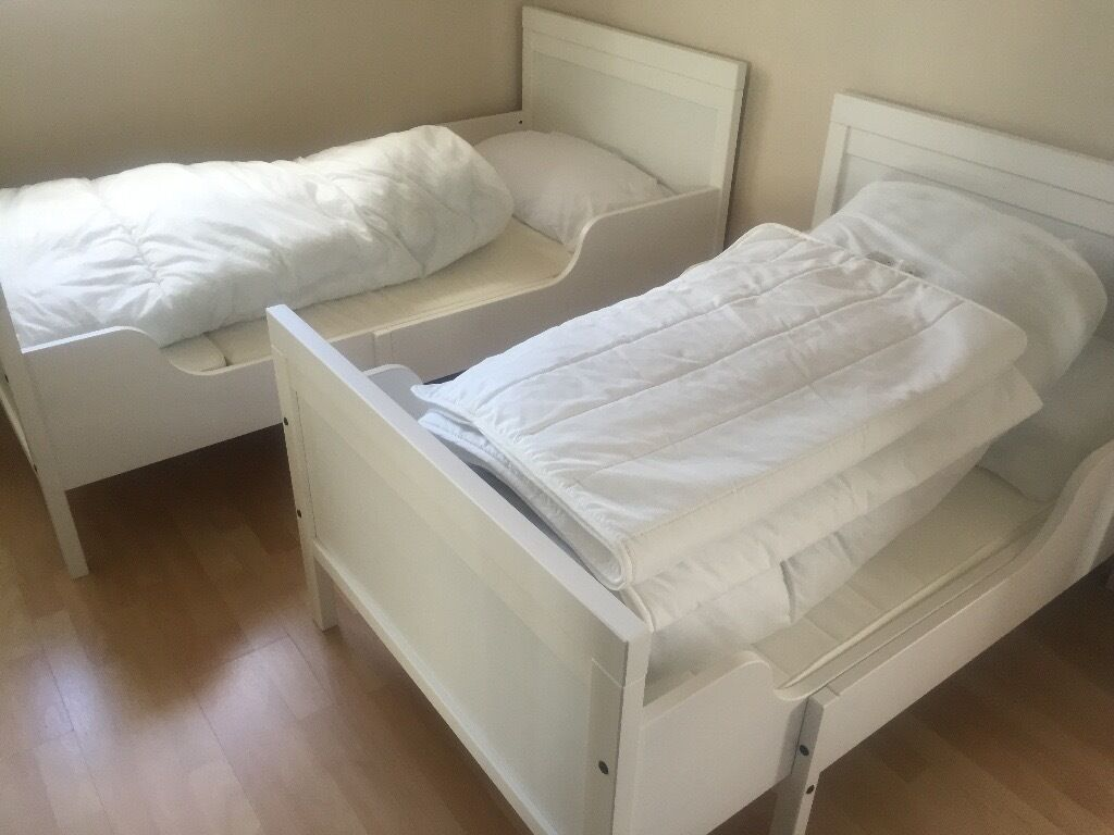 ikea sundvik white extendable bed frame with slatted base. Black Bedroom Furniture Sets. Home Design Ideas