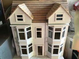 Wooden dolls house, three storey, simple, rustic with opportunity to decorate