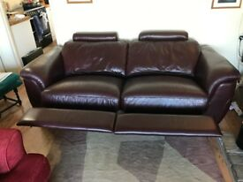 Sofa double electric reclining Italian leather in excellent condition
