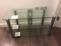 Clear Glass 42 Inch Rectangular TV Stand - AS NEW
