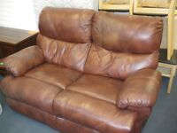 BROWN LEATHER ELEC RECLINER SOFA at Haven Housing Trust's charity shop
