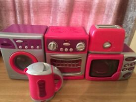 Toy kitchen set-microwave,cooker,washing machine,toaster,kettle