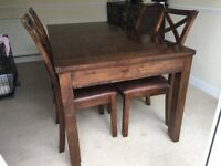 Solid Mahogany Wood Table And Chairs