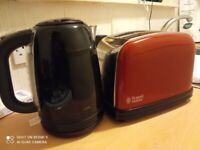 Logik Kettle and Russell Hobbs red Toaster