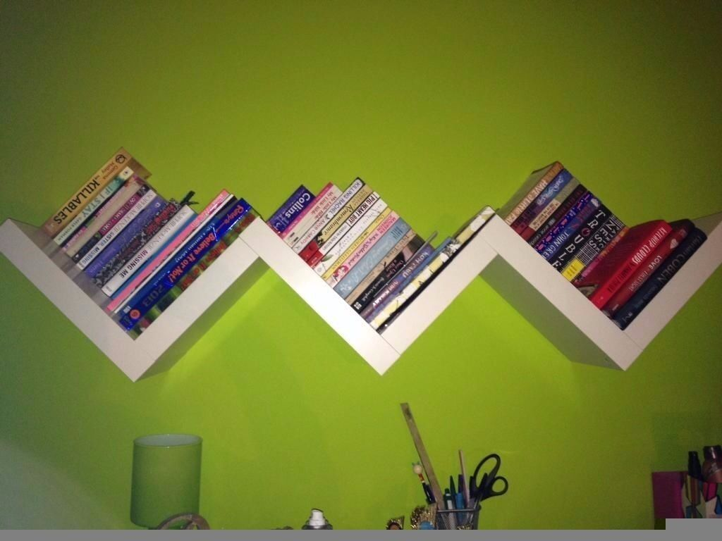 Ikea Lack White Floating Zig Zag Shelf