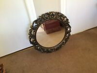 New house? Lovely vintage decorative mirror, black & gold effect