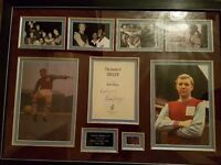 Genuine bobby moore signature and picture collage