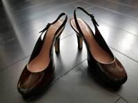 Size 7 Carvela (Kurt Geiger) Dark Brown Patent Leather Platform Sandals