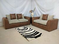 EXPRESS DELIVERY ALL UK | NEW DYLAN JUMBO BROWN/BEIGE 3+2 OR CORNER SOFA SEATER | 1 YEAR WARRANTY
