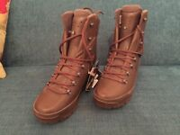 HAIX Brown Leather Combat Boots; Gore-tex lined. Brand New!