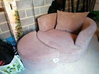 COFFEE/BROWN Loveseat and Pedestal FOR SALE