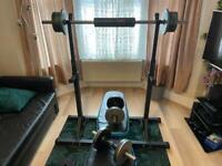 95kg Multi-Adjustable Dumbbells Pair Set + Barbell + Adjustable Bench + Squat Rack + Barbell Pad