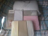 Baby bed in a bag..fitted sheets ..jersey fitted sheets and pink fitted sheet