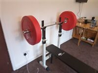 Weight bench, 4ft olympic bar bell and 2x25kg bumper plates