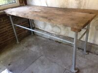 Old Heavy Duty Workbench Wood and Metal