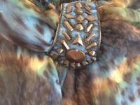 Ladies blue multi maxi dress with halter neck size medium