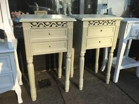 Pair of Shabby Chic Bedside Tables - Sage Colour