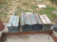 4 x metal cantilever tool boxes joblot
