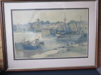 Scottish watercolour of Arbroath Harbour by Robert Eadie R.S.W