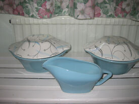 "J & G Meakin ""South Seas"" vintage, retro casseroles and sauce / gravy boat"