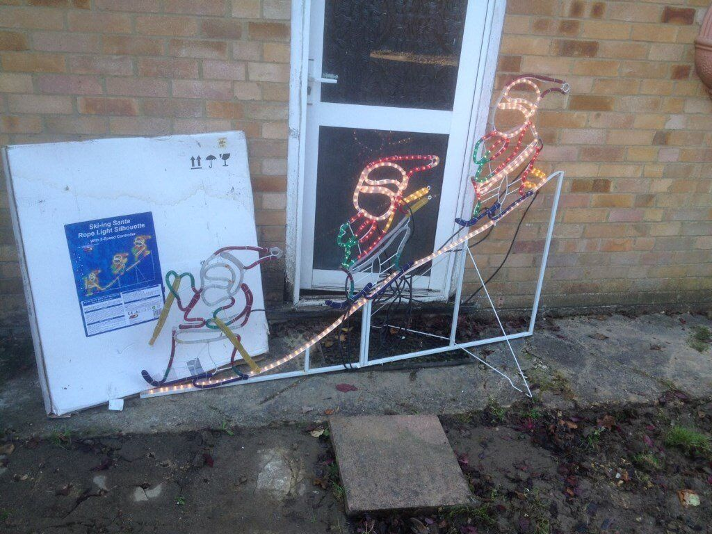 Christmas rope lights, outdoor illumination decoration, Xmas Sking Santa moving lights feature