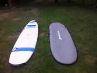 Surf board. 8'4 BIC Magnum with bag, leash and wax.