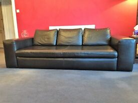 Habitat Sidney Sofa Large 3 seater in Black Leather Used but in good condition.