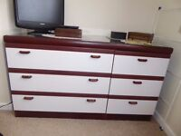 Lovely ready assembled bedroom furniture in very good condition, all glass topped.