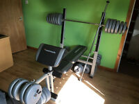 Maxi Muscle Multi Purpose Bench Gym + barbells + dumbells + over 140kg plates