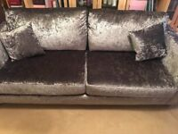 Sofa ..3 seater ex cond .. steel grey crushed velour ... foam filled.like new bought in April