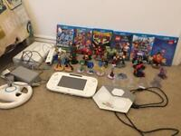 White Wii U 8GB with Disney infinity characters and Lego dimension characters