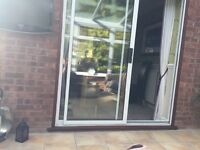 External white aluminium sliding patio doors 6ft wide with lock and key