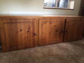 Large pine storage cupboards