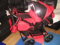 Red Maya Lux Pram and Pushchair with Raincover