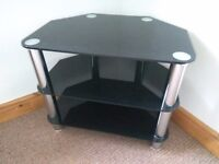 Black and Chrome 3 tier corner TV stand