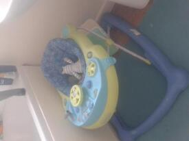Baby walker. Blue and green