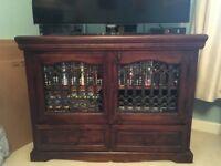 Solid dark wood tv unit sideboard