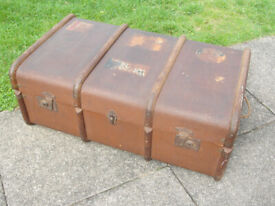 Vintage steamship trunk. £45. Curved top with bands. 1920's Pacific Line label to South America