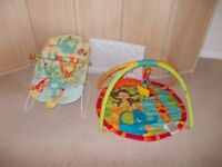 Changing mat,play mat and bouncing chair as new