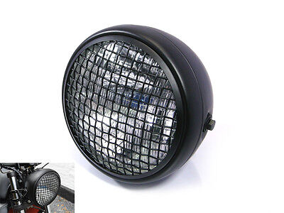 HEADLIGHT FOR TRIUMPH CAFE RACER SCRAMBLER BLACK MESH GRILL H4 55W RET