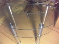 CURVED GLASS TELEVISION TABLE WITH GLASS SHELF