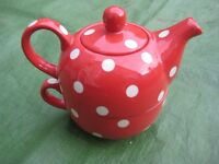 Red with White Spots Tea for One Teapot and Cup