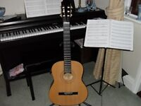 Burswood full size classical guitar with soft carry case.
