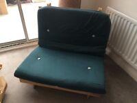Futon - 3ft single, wooden frame futon