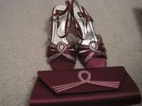 MATCHING SHOES AND BAG - SIZE 5 - EXCELLENT CONDITION - WORN ONCE - PLUM