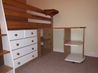 Cabin Bed - Verona Mid Sleeper White / Pine - full set of bedroom furniture