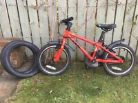 Frog 48 red bike and 2 unused spare tyres
