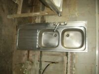 STAINLESS STEEL DOULBLE SINK AND DRAINER AND TAPS AND WASTE