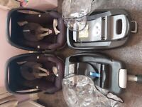 2 x Maxi Cosi Pebble Car Seats with bases and accessories