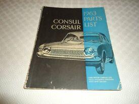 Genuine Original Parts list for Consul Corsair 1963
